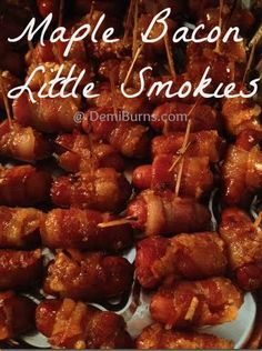 Maple Bacon Wrapped Brown Sugar Little Smokies #recipe