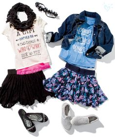 Back to School Outfits I'm pinning this to enter the Justice Back-to-School Sweepstakes - click the pin to enter too! Back School Outfits, Outfits For Teens, Summer Outfits, Cute Outfits, Outfits 2016, Girls Fashion Clothes, Tween Fashion, Little Girl Fashion, Fashion Outfits