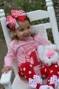 Baby Girl Valentine Outfit Kisses for by DarlingLittleBowShop