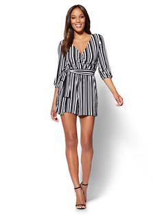 2ef68d3c092 Shop 7th Avenue Bubble-Sleeve Romper - Black  amp  White Stripe. Find your