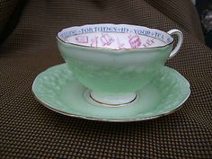 """Paragon Vintage Fortune Telling Tea Cup & Saucer Rare. """"Signs and Omens"""""""