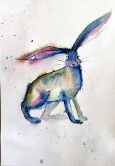 Animal Wallpaper – Hare painting, Watercolor painting – a unique product by Radikacolours on DaWanda