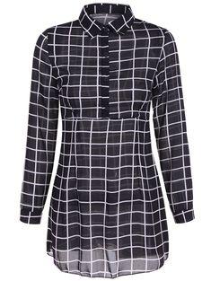 Gingham Long Sleeve Dress in Black | Sammydress.com