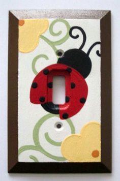 Ladybug Light Switch Flowers Garden Switch by FrogsAndFairytales, $15.00
