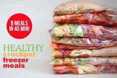 8 Healthy Crockpot Freezer Meals in 45 Minutes (link in article for recipes and shopping list) Make Ahead Freezer Meals, Freezer Cooking, Crock Pot Cooking, Easy Meals, Inexpensive Meals, Frugal Meals, Slow Cooker Recipes, Crockpot Recipes, Cooking Recipes