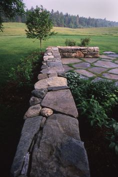Vermont stone wall & terrace by Ogden & Chalmers.