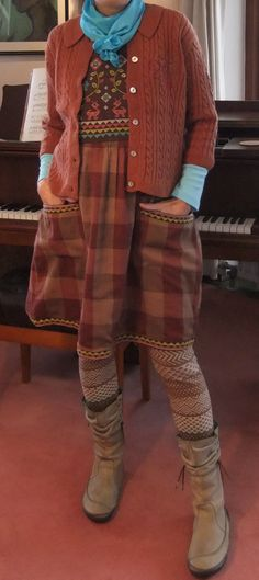 Not these colors, but love the concept of the embroidered top with the tartan skirt and cable knit cardi. Mori Fashion, Fashion Dresses, Womens Fashion, Funky Outfits, Cool Outfits, Ropa Shabby Chic, Granny Chic, Advanced Style, Mori Girl