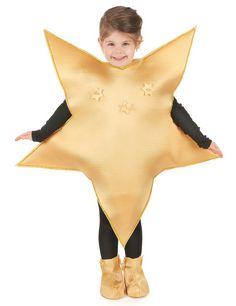 Goldenes Stern-Kostüm für Kinder: Dieses goldene Stern-Kostüm für Kinder besteht aus einem Anzug und Überschuhen.Der Anzug hat die Form eines Sterns, ist aus Schaumstoff und hat natürliche Öffnungen für Kopf, Arme und Beine. Er...
