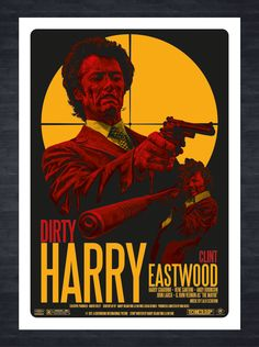 Dirty Harry Fictional Movie/Film Poster, featuring Clint Eastwood and Scorpio, hand drawn vector artwork created in Adobe Illustrator.