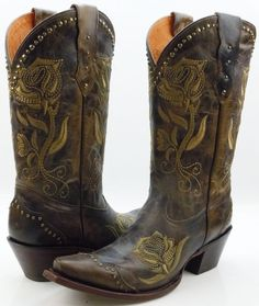 a89926340f0 Lucchese M5700 Womens Olive Brown Leather Western Cowboy Boots ... Cowhide  Leather