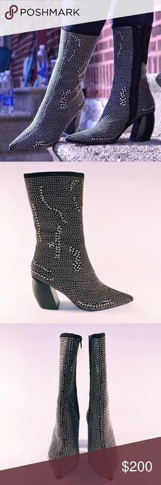 """Jeffrey Campbell Stud Boot The Tork Boot is made in black suede and features a pointed toe, curved heel, inside zipper, silver stud detailing, and chelsea inserts at top. Genuine leather lining.   *Suede Leather/Synthetic Materials  *Shoe height: 12""""/30.5cm  *Heel height: 3.5""""/8.9cm  *True to size  *Imported  Brand New. Box and tags included.  ALL OFFERS CONSIDERED. Jeffrey Campbell Shoes Heeled Boots"""