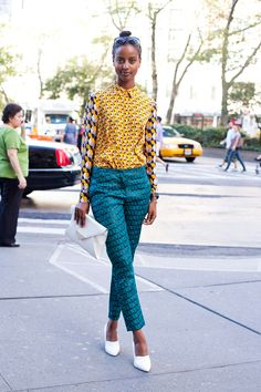 mustard and turquoise prints - street style