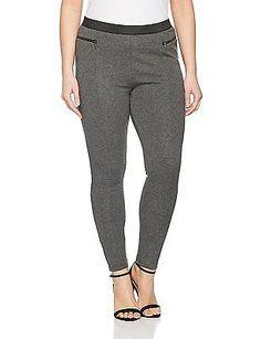 22, Grey, Evans Women's Zip Leggings