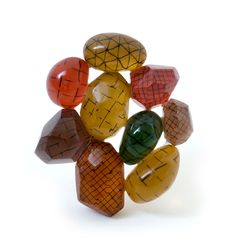 Beppe Kessler. Brooch: Big Network, 2014. Brass, wood, acrylic fiber, drawing. Part of: Private Collection.