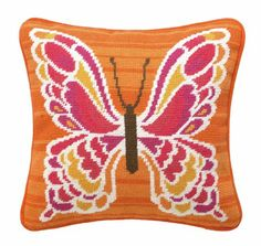Amazon.com - Trina Turk Residential New Needlepoint Pillow, Mariposa, Pink - Throw Pillows
