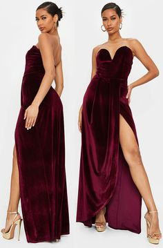 Get ready to turn heads in this super stylish dress doll. Featuring a burgundy velvet material with drape wrap detail, a bandeau neckline and maxi length. Team it with gold heels and gold accessories for a combo we are seriously obsessed with. Burgundy Velvet Dress 2020. Velvet Party Dress. Pretty Little thing Party Dress. 2020 Christmas Party Dresses. Christmas Festive Season Party Dresses. Christmas Party outfits. Dresses for the Festive Season 2020. Dress for New Years Eve #christmas…
