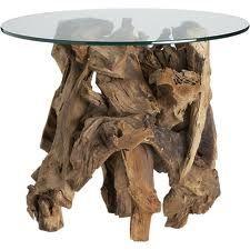 Koffietafel met glasplaat van drijfhout.