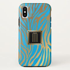 Gold Monogram Blue Tiger Stripe Pattern iPhone X Case - classy gifts custom diy personalize
