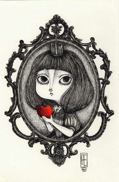 Gothic Snow White Ink Etching by Siamés Escalante