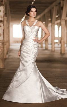 Hollywood glam gown..wedding dress made from Diamond Organza, features lace & jewel halter straps, an all-over ruched bodice and a skirt with chapel train by Essense of Australia [Style D1291]