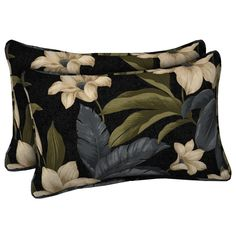 This Black Tropical Blossom series of outdoor pillows and cushions is just gorgeous. Coordinate with other Black Tropical Blossom pieces or mix and match with other colors and patterns for a polished and sophisticated setting you will enjoy season after season.