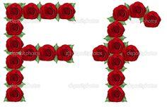 Alfabeto retro relleno de flores. | alfabeto feito de rosas vermelhas e folhas…