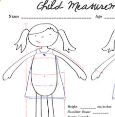 FREE Printable: Child Measurement Chart - Just do all of your measuring and record the numbers on the handy chart, and the next time you need to know how big a waist is, or how broad a chest is, you can just look it up. A great tool/resource Sewing Hacks, Sewing Tutorials, Sewing Crafts, Sewing Projects, Sewing Patterns, Sewing Tips, Sewing Ideas, Sewing Basics, Sewing Kids Clothes