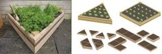 Triangle Beds    This new, quick and easy DIY multiple layout system, allows you to make raised growing beds suitable for small gardens or large vegetable plots. Made from FSC Certified cedar, which is resistant to rot and insect damage and has had no noxious chemical wood treatments, it also has an integral 'Coppa-stoppa' slug defence, which stops the slugs from climbing into the plants. Two shapes available and can be stacked to make deeper beds