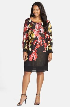 Adrianna Papell Floral Print Shift Dress (Plus Size) available at #Nordstrom
