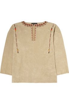 Isabel Marant Marvin oversized embroidered suede top | THE OUTNET