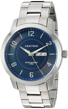 Armitron Men's Quartz Stainless Steel Dress Watch, Color:Silver-Toned (Model: 20/5142NVSV) *** Read more reviews of the watch by visiting the link on the image.
