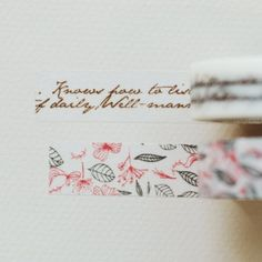 Washi Tape - Masking Tape Runa - Calligraphy & Floral Pattern