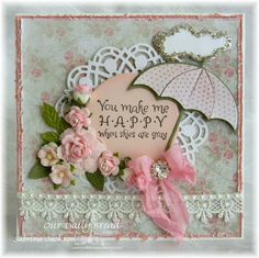 Stamps - Our Daily Bread Designs April Showers, ODBD Shabby Rose Paper Collection, ODBD Custom Dies: Doily, Umbrellas, Clouds and Raindrops, Circle Ornaments, Fancy Foliage