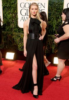 Rosie Huntington-Whiteley in an Yves Saint Laurent dress and Dana Rebecca and Norman Silverman jewelry - Golden Globe Awards 2013 Red Carpet