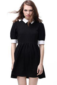 ROMWE | Retro Lapel Neck Black Dress, The Latest Street Fashion   http://www.romwe.com/retro-lapel-neck-black-dress-p-36313.html?Pinterest=fyerflys