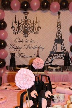 Parisian, French, Paris, Pink, Pink and black Birthday Party Ideas Paris Birthday Parties, Birthday Party Themes, Spa Birthday, Paris Theme Parties, Birthday Ideas, Thema Paris, Paris Sweet 16, Sweet 15, Paris Bridal Shower