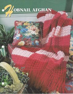 Pattern Afghan Blanket Crochet Hobnail by KnitKnacksCreations