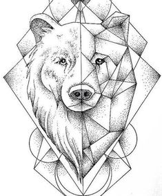 Pin by lauren williams on tattoos in 2019 Geometric Bear Tattoo, Geometric Drawing, Geometric Artwork, Art Drawings For Kids, Animal Drawings, Polygon Art, Tattoo Designs Men, Art Sketchbook, Tattoo Drawings