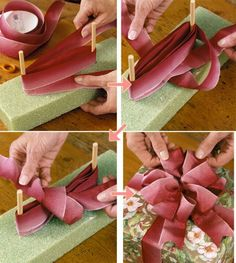 Best 12 Push dowels into floral foam about 5 inches apart. Wrap dowels 4 to 6 times – SkillOfKing. Gift Wrapping Bows, Creative Gift Wrapping, Gift Bows, Christmas Gift Wrapping, Present Wrapping, Diy Bow, Diy Ribbon, Ribbon Crafts, Christmas Tree Bows