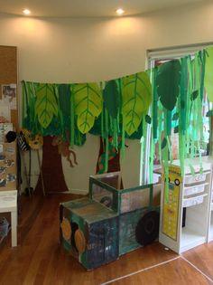 Jungle role play - inspiration for similar ideas for Gruffalo party Preschool Jungle, Jungle Crafts, Dramatic Play Area, Dramatic Play Centers, Jungle Theme Classroom, Classroom Themes, Rainforest Theme, Rainforest Crafts, Rainforest Activities