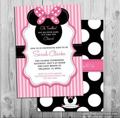 Minnie Mouse Baby Shower Invitation | Printable Baby Shower Invite | Pink Black | Girl Baby Shower | Decorations Available in our Shop by thepartystork on Etsy https://www.etsy.com/listing/184214056/minnie-mouse-baby-shower-invitation