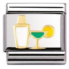 Nomination Ladies Composable Classic Gold Cocktail Shaker And Glass Enamel Charm Nomination Charms, Nomination Bracelet, Cocktail Shaker, Classic Collection, Gold Material, Silver Charms, Custom Jewelry, Cocktails, Drinks
