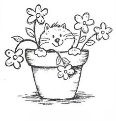 9612 – Potted Kitty Rubber Stamp – Sku: – Welcome Colouring Pages, Adult Coloring Pages, Coloring Books, Embroidery Patterns, Hand Embroidery, Hand Applique, Penny Black Karten, Cat Drawing, Digital Stamps