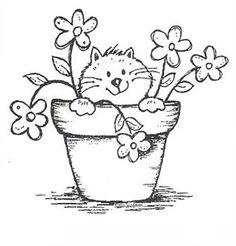 Gatinho em Vaso de Flores