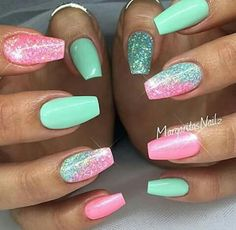 Spring nails nail designs 2019 - page 60 of 200 - nagel-design-bilder.de - Spring nails nail designs 2019 The Effective Pictures We Offer You About spring nails matte A qual - Bright Acrylic Nails, Summer Acrylic Nails, Best Acrylic Nails, Acrylic Nail Designs, Nail Art Designs, Summer Nails, Bright Nail Designs, Bright Nails, Nails Design