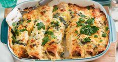 Chicken, mushroom and thyme enchiladas Mushroom Chicken, Cheesy Chicken, Vegetarian Enchiladas, Chicken Enchiladas, One Pot Dishes, Main Dishes, Easy Cooking, Cooking Recipes, Vegetarian Recipes