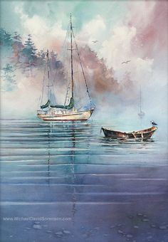 In the Mist - Open Edition Giclee Print on archival poster paper with printed mats from the original watercolor.    - 11 x 14 paper size - 7