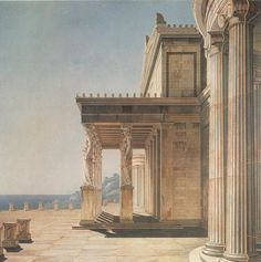 Terrace Of The Orianda Palace In The Crimea Artwork By Karl Friedrich Schinkel Oil Painting & Art Prints On Canvas For Sale Art Et Architecture, Ancient Greek Architecture, Classical Architecture, Historical Architecture, Architecture Details, Rome, Fantasy Castle, Urban Setting, Neoclassical