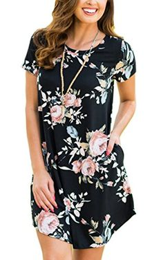 ECOWISH Womens Floral Print Striped Casual Short Sleeve T-shirt A-line Midi Dress  at Amazon Women s Clothing store  Cheap Dresses ... 5fa1ce668