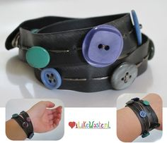 Recycled bracelet made from old bicycle inner tube, video (vhs) tape and old skool buttons!